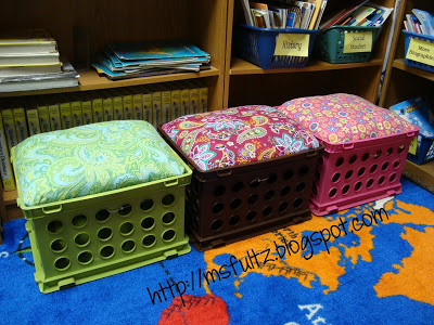 Milk crate turned storage bench