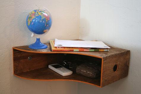 Magazine holder becomes corner nightstand