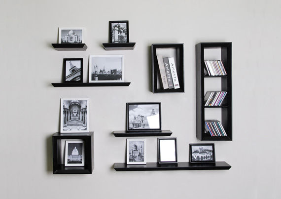 Shelves with hanging pictures