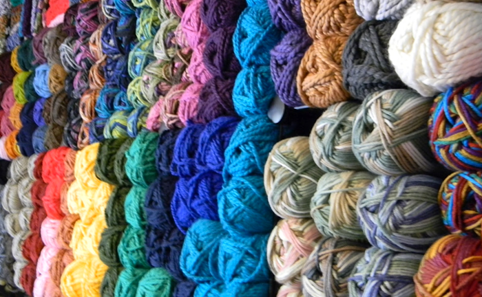 Yarn on shelves