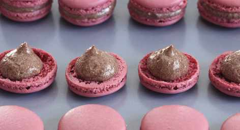 Chocolate and pink confections