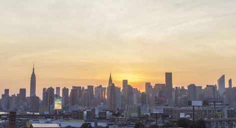 The Manhattan skyline at sunset