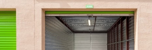 An open self-storage unit at the Storage Post Station Square self-storage facility