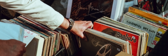 A person's vinyl collection