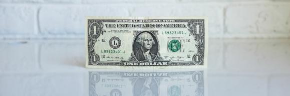 Dollar bill on a white background