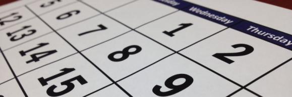 Dates on a paper calendar