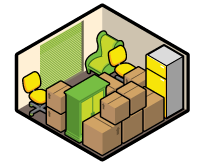 Iconographic view of a large 10x10 storage unit, holding a number of boxes, cabinets, and chairs.