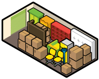 Iconographic view of an extra-large (XL) storage unit, holding a whole ton of stuff.