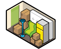 Iconographic view of a medium storage unit, holding some cabinets, chairs, and a number of boxes.