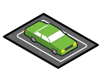 "Iconographic view of a parking space, holding a cool old car in ""Storage Post green"""